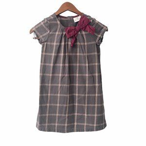 Hanna Andersson Gray Plaid Bow Dress Size 120